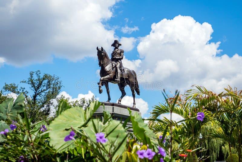 Monument de George Washington dans le jardin public Boston image libre de droits