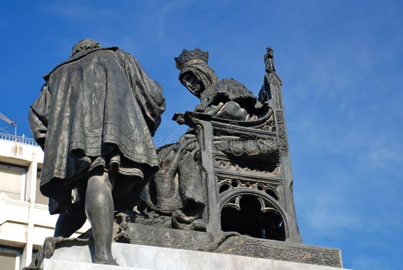 Monument de Grenade pour la Reine Isabella et Columbus image libre de droits
