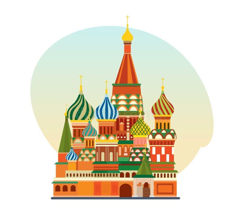 Monument de l'architecture russe, église orthodoxe de St Basil Blessed illustration stock