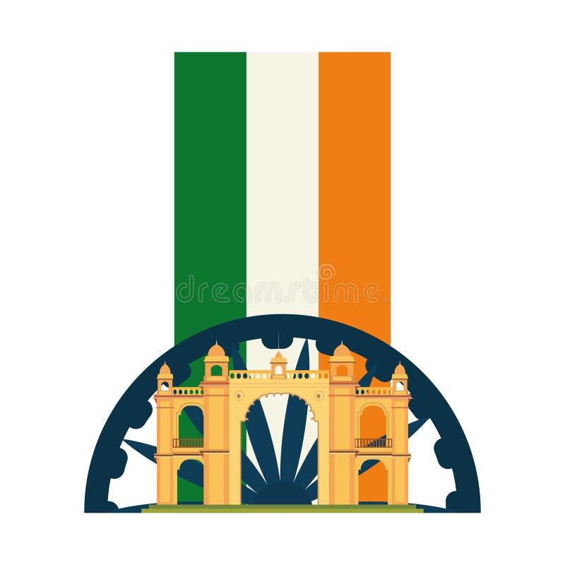 Monument de l'Inde de drapeau de passage de Mumbai illustration stock