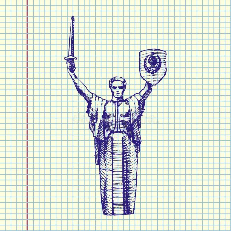 Monument de la mère patrie, UKRAINE illustration de vecteur