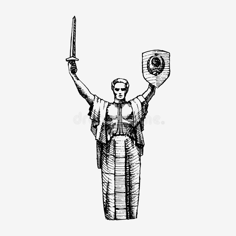 Monument de la mère patrie, UKRAINE illustration stock