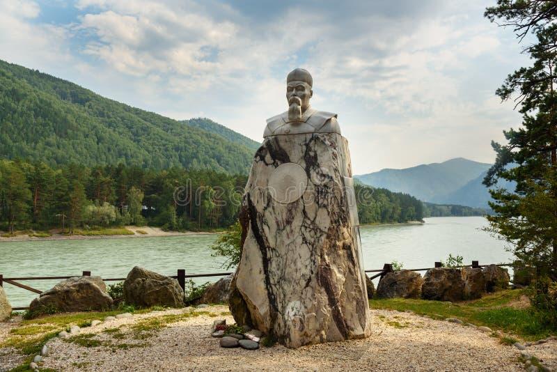 Monument de marbre à Nicholas Roerich République d'Altai, Russie images libres de droits