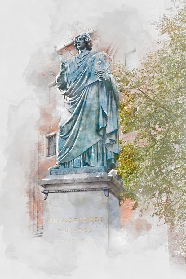 Monument de Nicolaus Copernicus à Torun, illustration numérique d'aquarelle illustration libre de droits