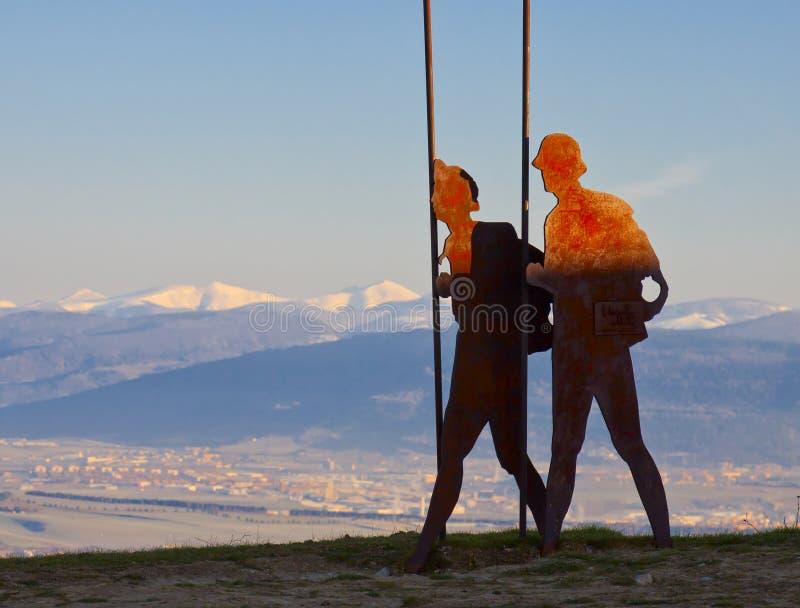 Monument de pélerin, Camino de Santiago, Navarre photographie stock libre de droits