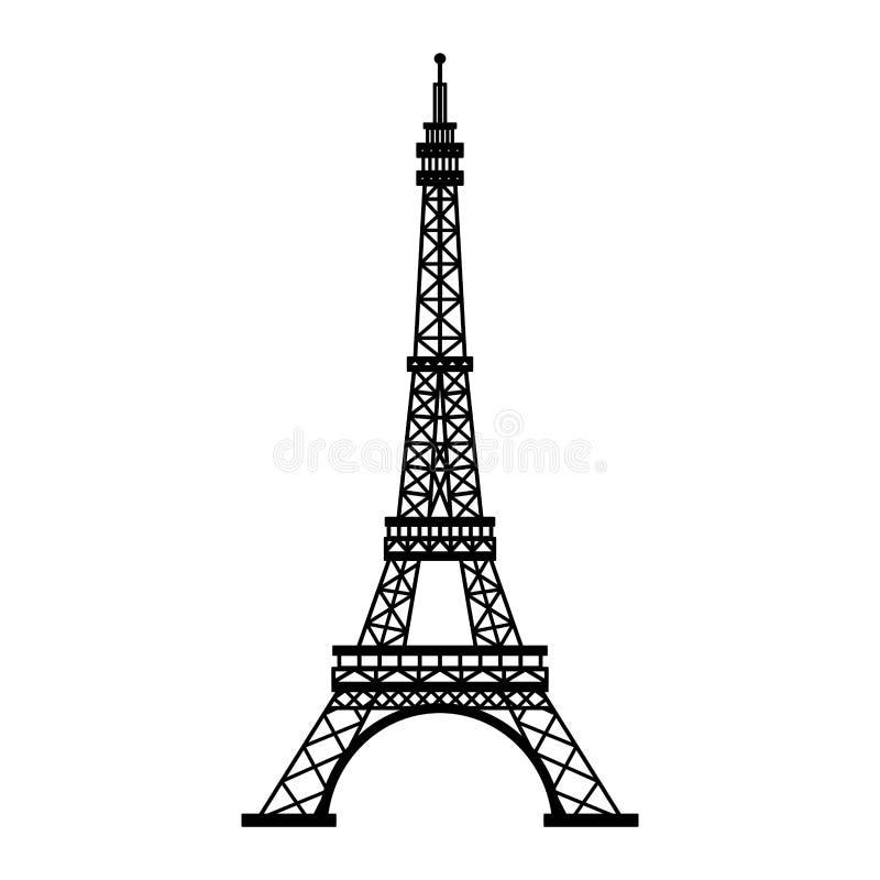 Monument de Paris de Tour Eiffel d'isolement en noir et blanc illustration libre de droits