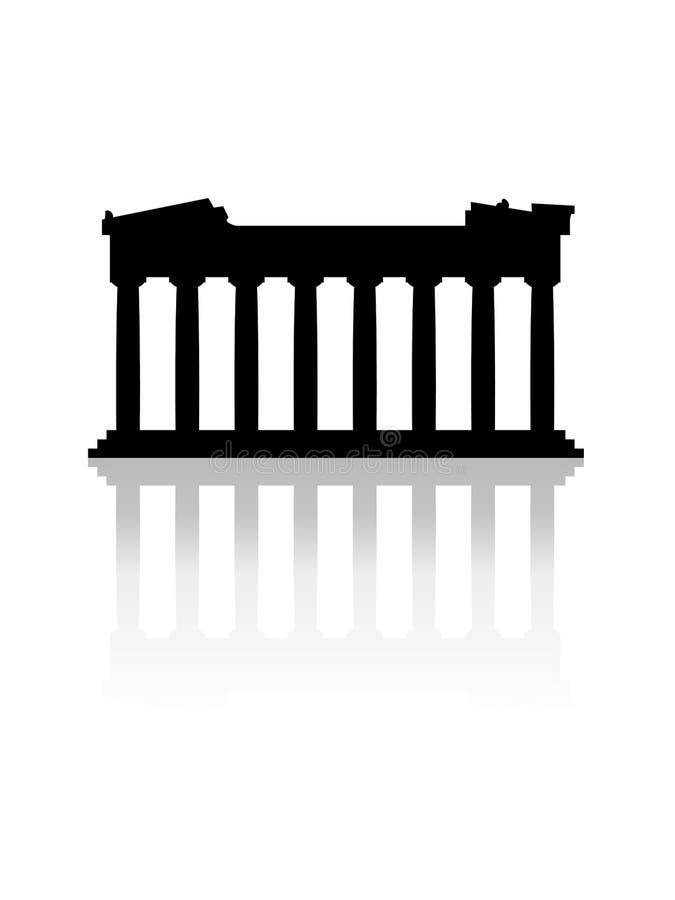 Monument de parthenon avec le vecteur d'effet de miroir sur le fond blanc illustration de vecteur