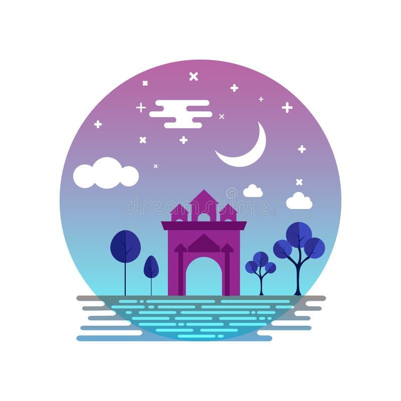 Monument de Patuxai à la nuit illustration de vecteur