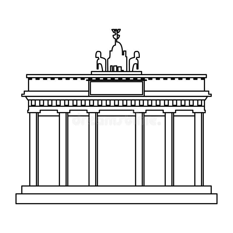 Monument de Porte de Brandebourg en noir et blanc illustration libre de droits