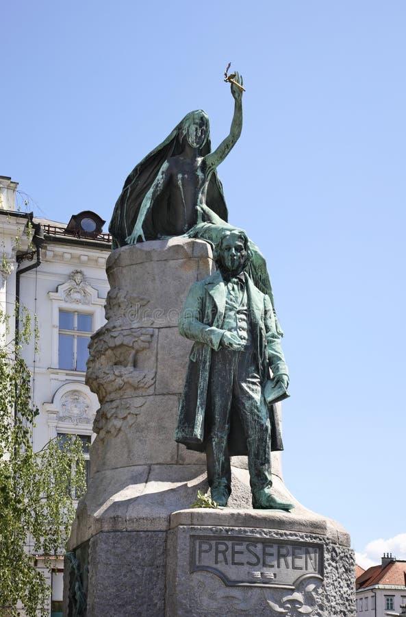 Monument de Preseren à Ljubljana Slovenija image libre de droits