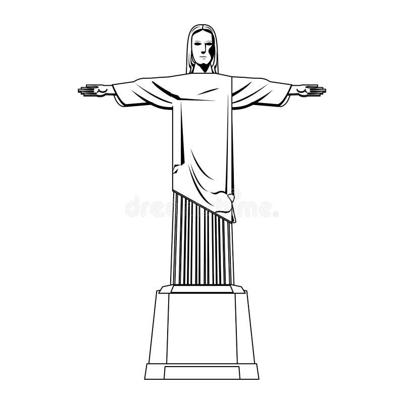 Monument de Redemeer le Christ Brésil d'isolement en noir et blanc illustration stock