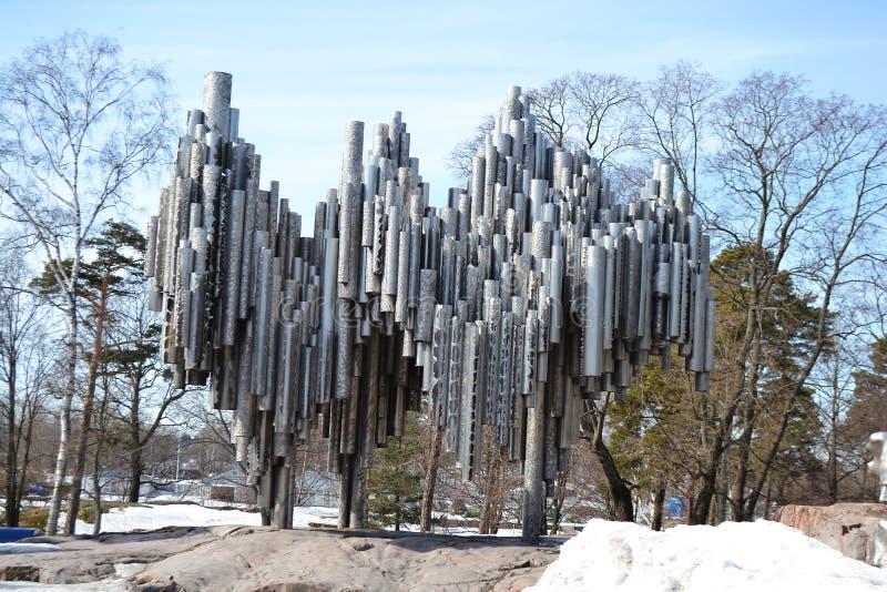 Monument de Sibelius à Helsinki image libre de droits