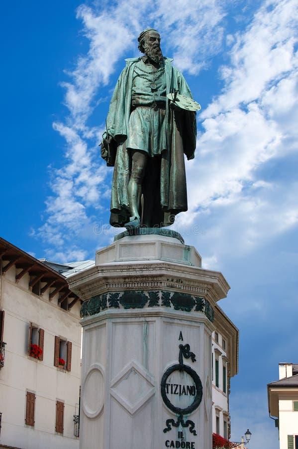 Monument de Tiziano Vecellio - Pieve di Cadore photo libre de droits