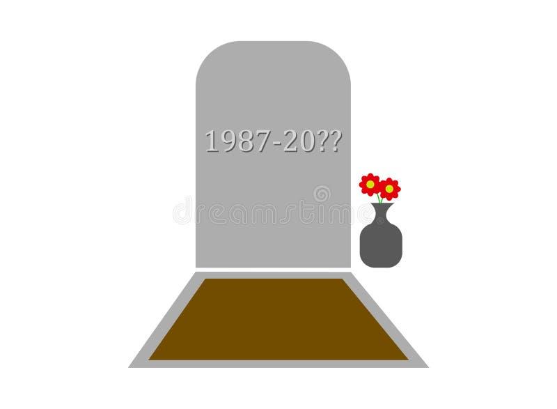 Monument de tombe de pierre tombale avec un pot de fleur illustration libre de droits