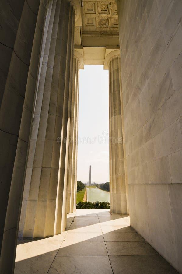 Monument de Washington de mémorial de Lincoln photographie stock libre de droits