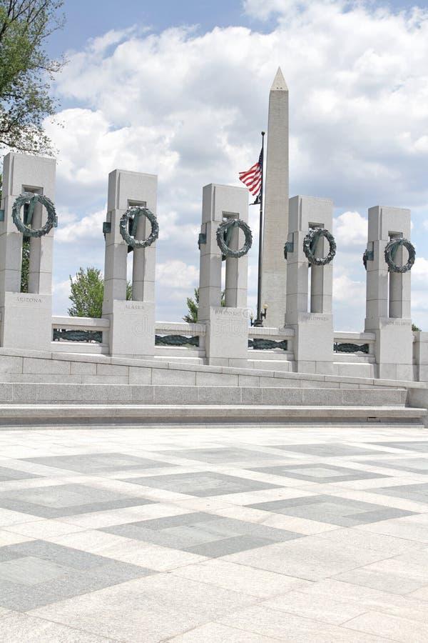Monument de Washington et mémorial de la deuxième guerre mondiale image libre de droits