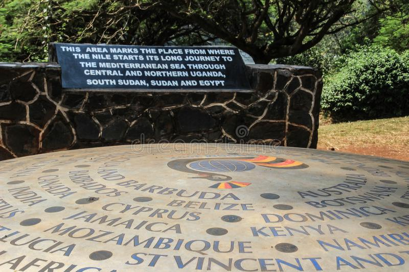 A monument dedicated to the place where the Nile River originates from Lake Victoria.Jinja,. Uganda stock images