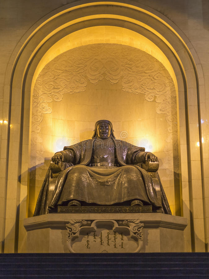 Monument, depicting a seated Genghis Khan royalty free stock images