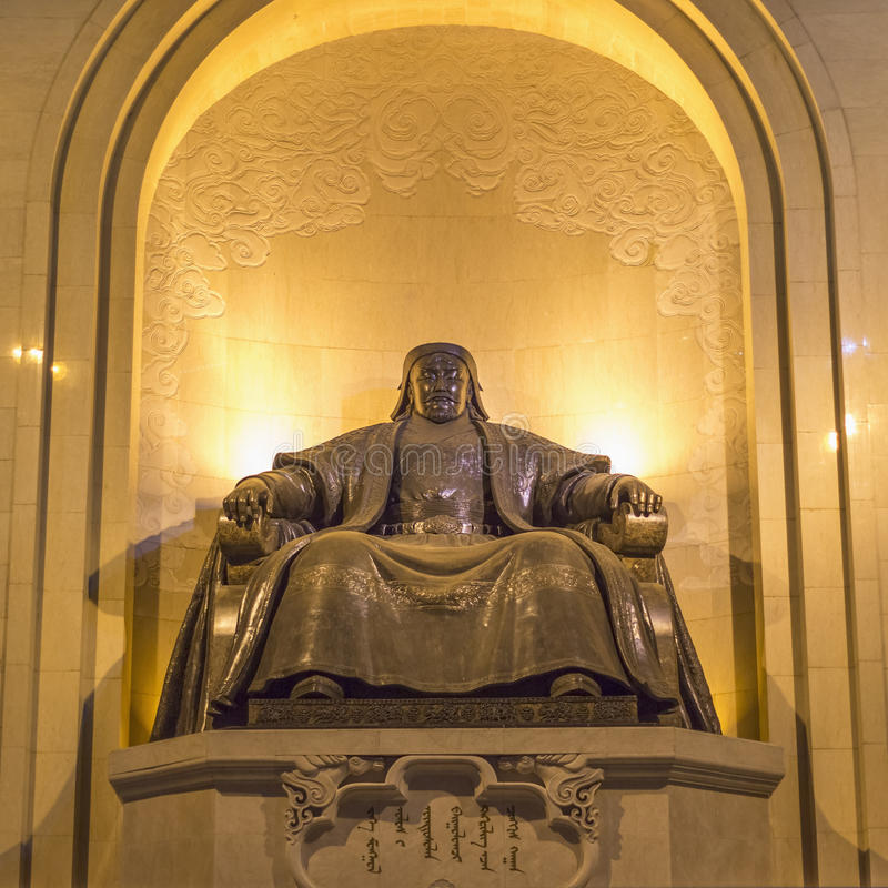 Monument, depicting a seated Genghis Khan stock photo