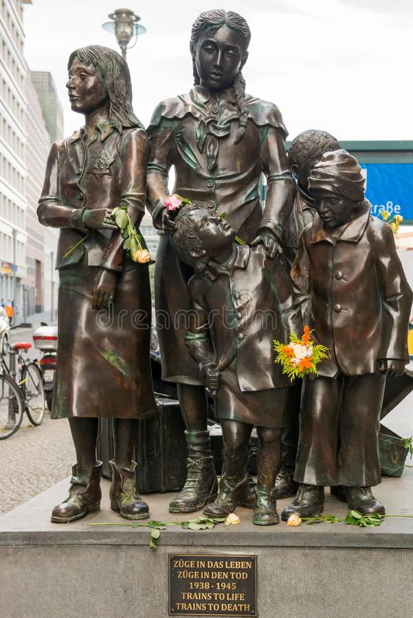 Monument of deported Jewish children between 1938 - 1945 `Trains to Life - Trains to Death`, Friedrichstrasse station, Berlin. Bronze sculpture of banished royalty free stock images
