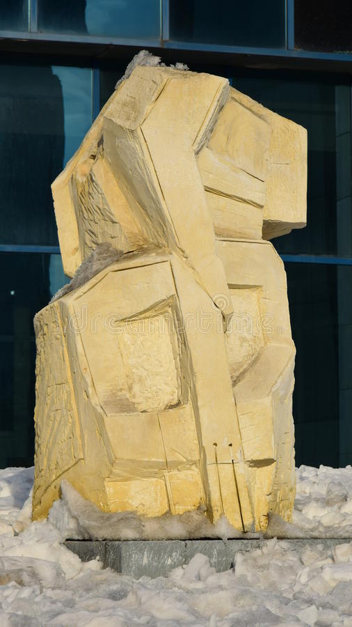 Monument der Ausgangsmaske nahe Nazarbayev-Mitte in Astana/in Kasachstan stockfoto