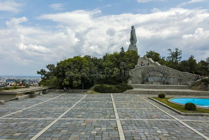 Monument der sowjetischen Armee bekannt als Alyosha in der Stadt von Plowdiw, Bulgarien lizenzfreie stockfotografie