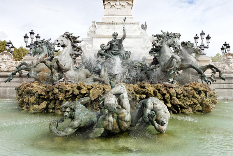 Monument des Girondins fountain, Bordeaux royalty free stock image