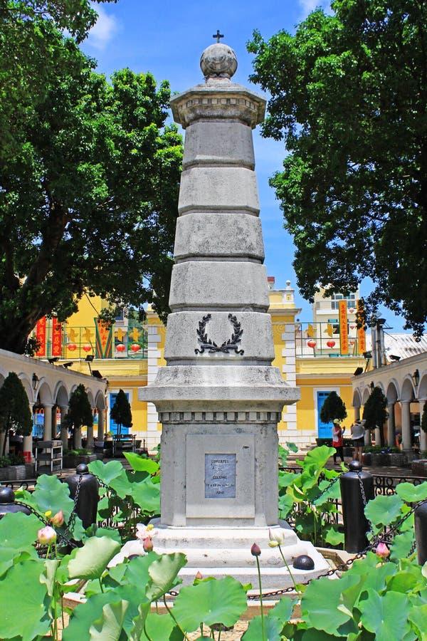 Monument dichtbij Kapel van St Francis Xavier, Macao, China stock foto's