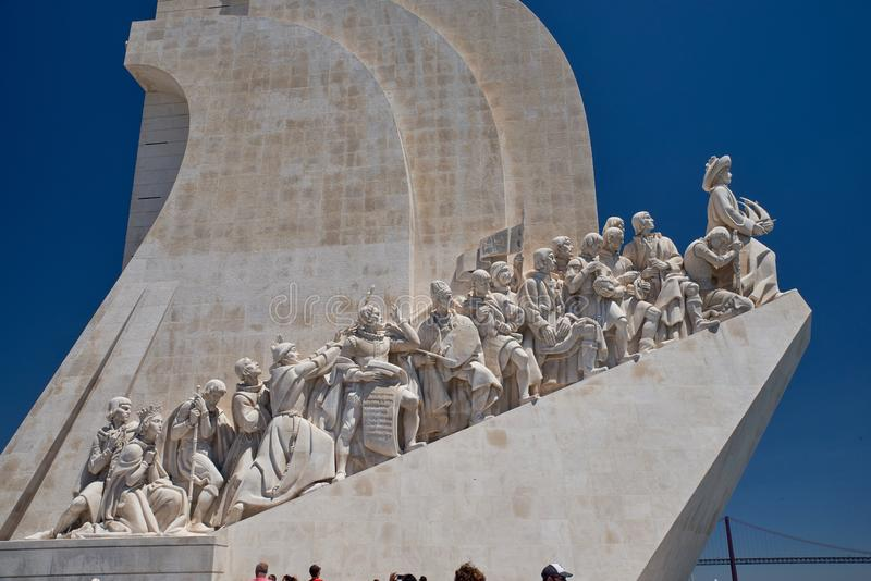 Monument discoverers monumental ensemble in Lisbon. Monument to the discoverers-a monumental ensemble in Lisbon, dedicated to the outstanding Portuguese figures stock photo