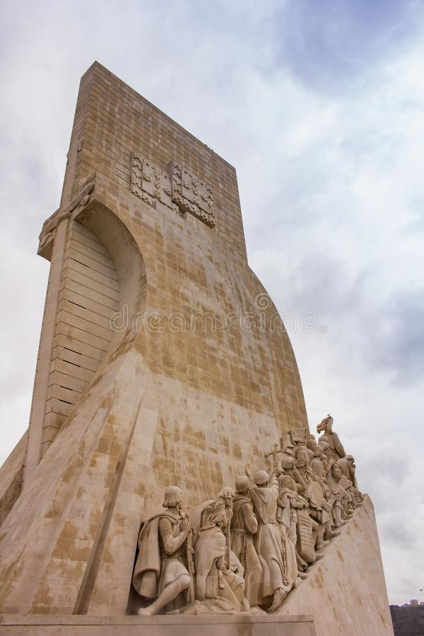 Monument of Discoveries - detail , Lisbon. Monument of the Discoveries is a monument on the northern bank of the Tagus River estuary, in the civil parish of royalty free stock images