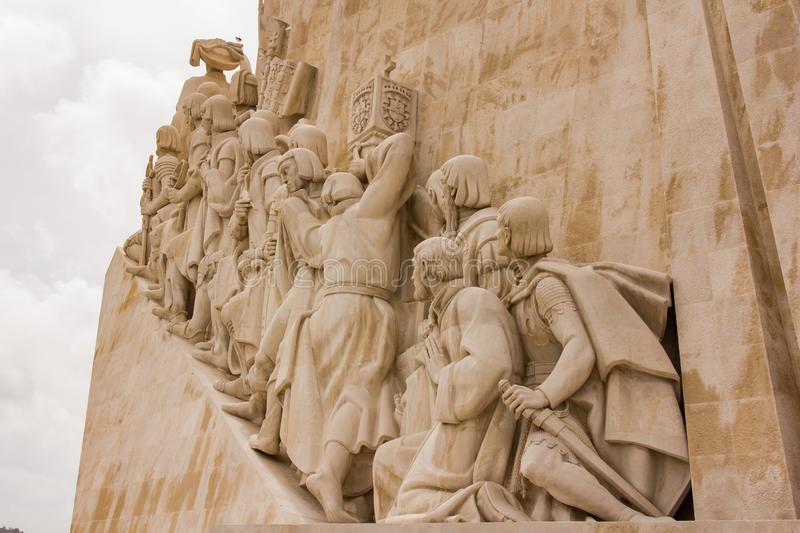 Monument of Discoveries - detail, Lisbon. Padrao dos Descobrimentos Monument of the Discoveries is a monument on the northern bank of the Tagus River estuary, in stock photo