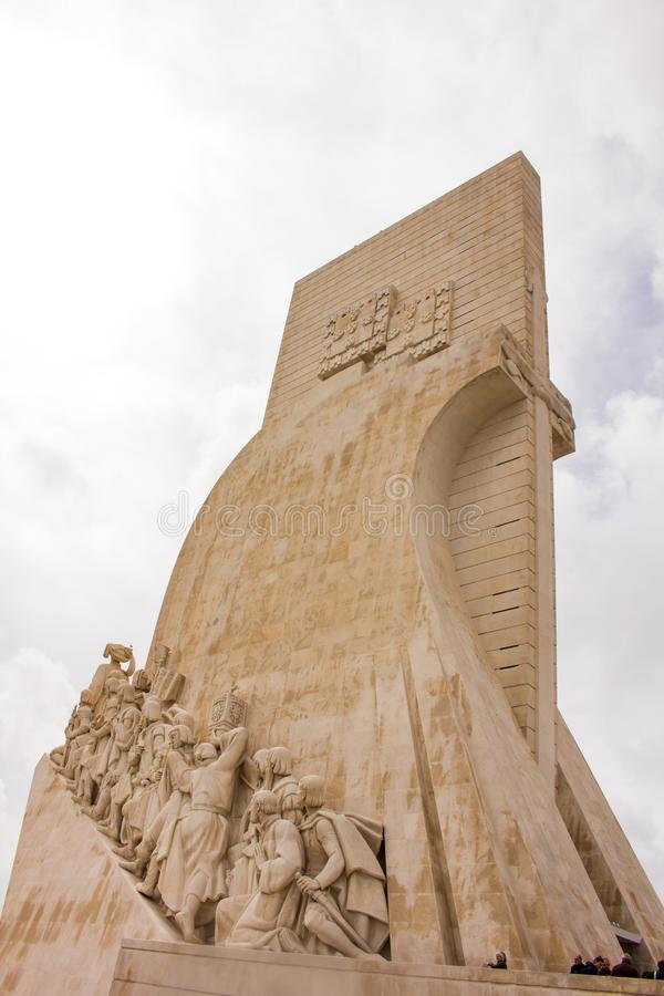 Monument of Discoveries, Lisbon. Padrao dos Descobrimentos Monument of the Discoveries is a monument on the northern bank of the Tagus River estuary, in the stock photos