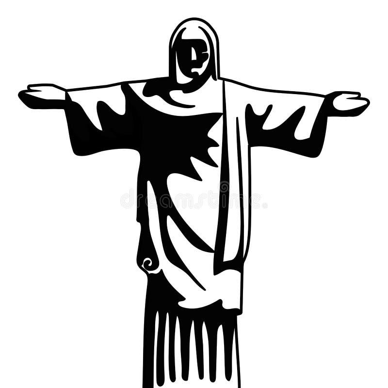 Monument du Br?sil de r?dempteur du Christ en noir et blanc illustration de vecteur