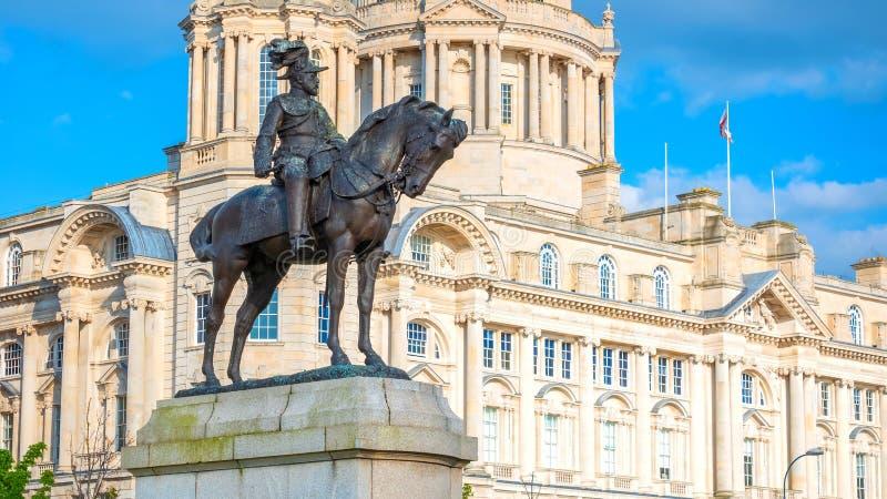 Monument du Roi Edward VII par Merseyside à Liverpool, R-U image stock