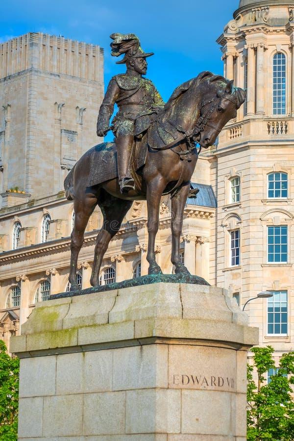 Monument du Roi Edward VII par Merseyside à Liverpool, R-U photos libres de droits
