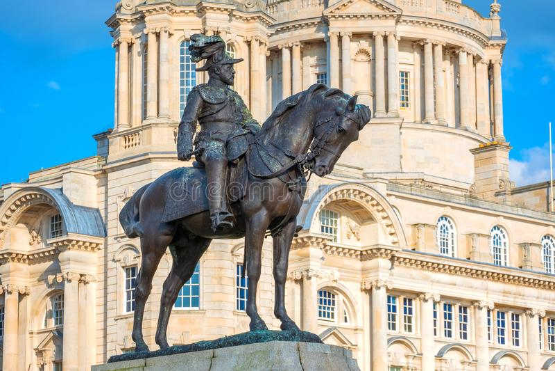 Monument du Roi Edward VII par Merseyside à Liverpool, R-U photographie stock