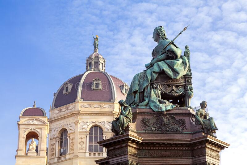 Monument of Empress Maria Theresia in front of Art History Museum in Vienna stock images