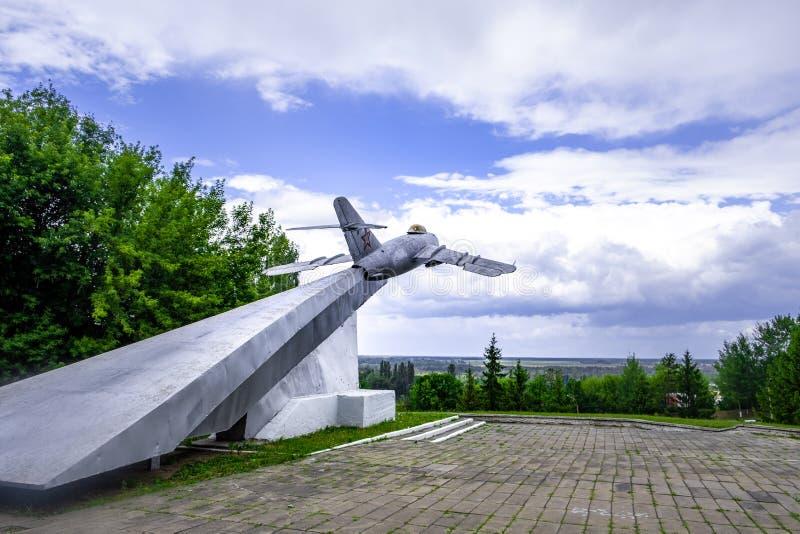 Monument en l'honneur des pilotes qui ont participé à la libération de Mazyr du nazi photo stock