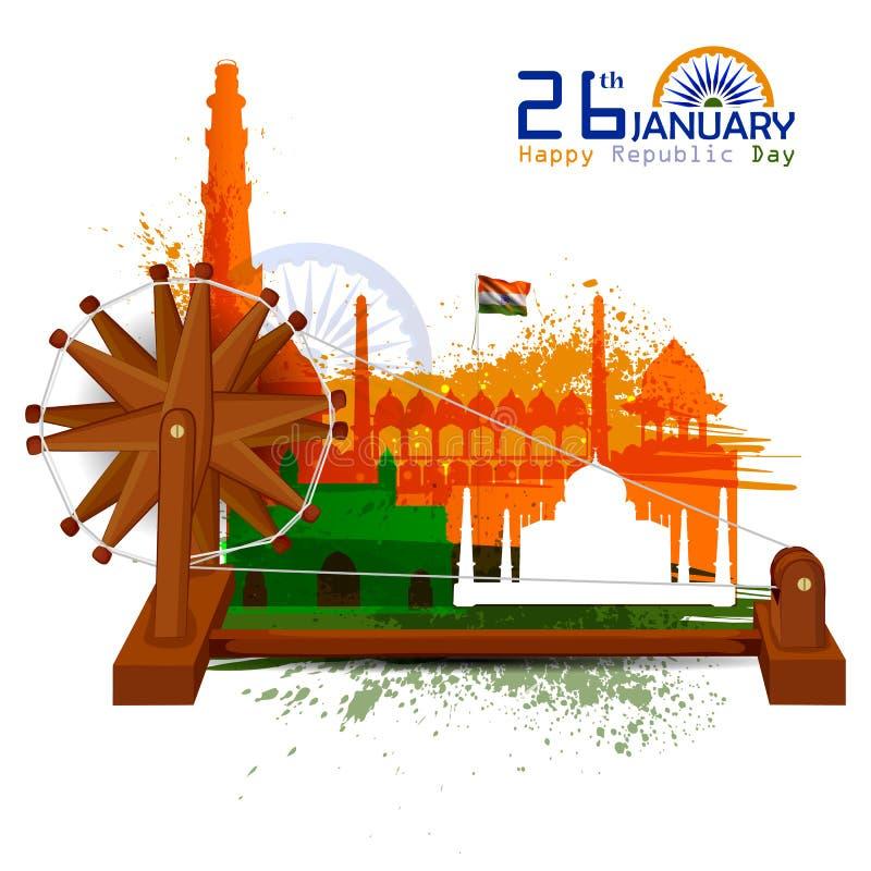 Monument en Oriëntatiepunt van India op de Indische achtergrond van de de Dagviering van de Republiek royalty-vrije illustratie