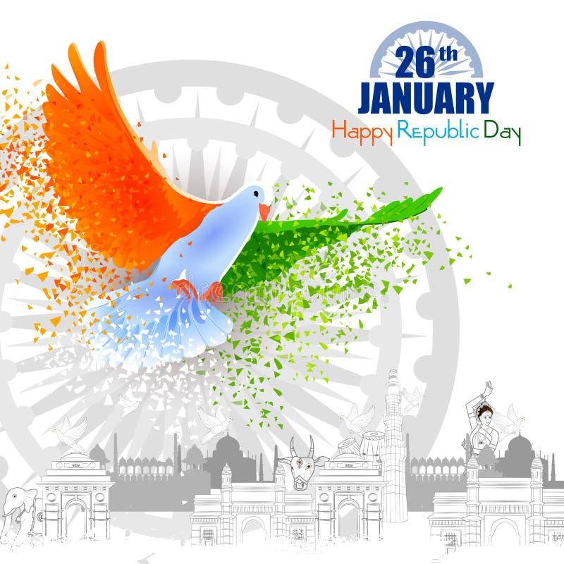 Monument en Oriëntatiepunt van India op de Indische achtergrond van de de Dagviering van de Republiek stock illustratie