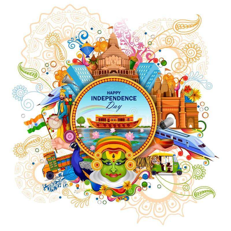 Monument en Oriëntatiepunt van India op Indische de vieringsachtergrond van de Onafhankelijkheidsdag stock illustratie
