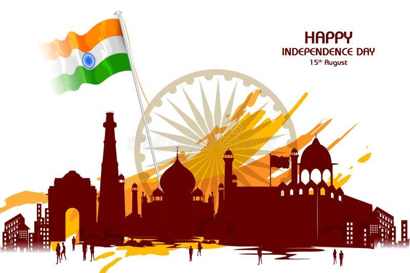Monument en Oriëntatiepunt van India op Indische de vieringsachtergrond van de Onafhankelijkheidsdag vector illustratie