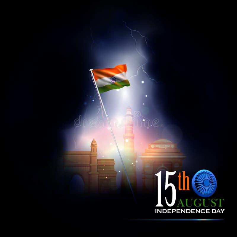 Monument en Oriëntatiepunt van India op Indische de vieringsachtergrond van de Onafhankelijkheidsdag royalty-vrije illustratie