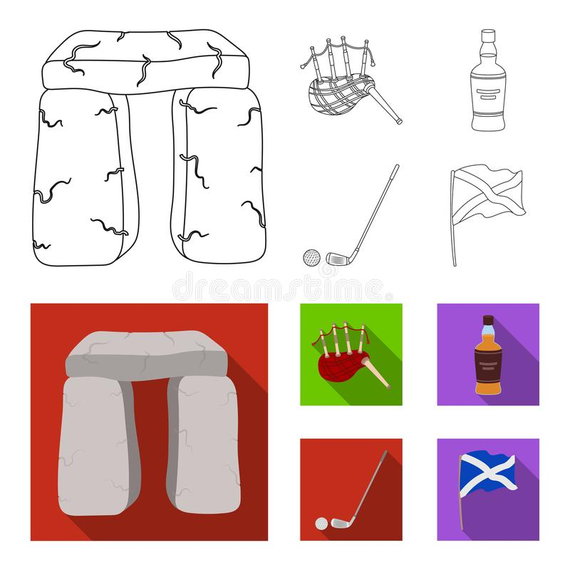 Monument en pierre, cornemuse, whiskey, golf Icônes réglées de collection de pays de l'Ecosse dans le contour, actions plates de  illustration de vecteur