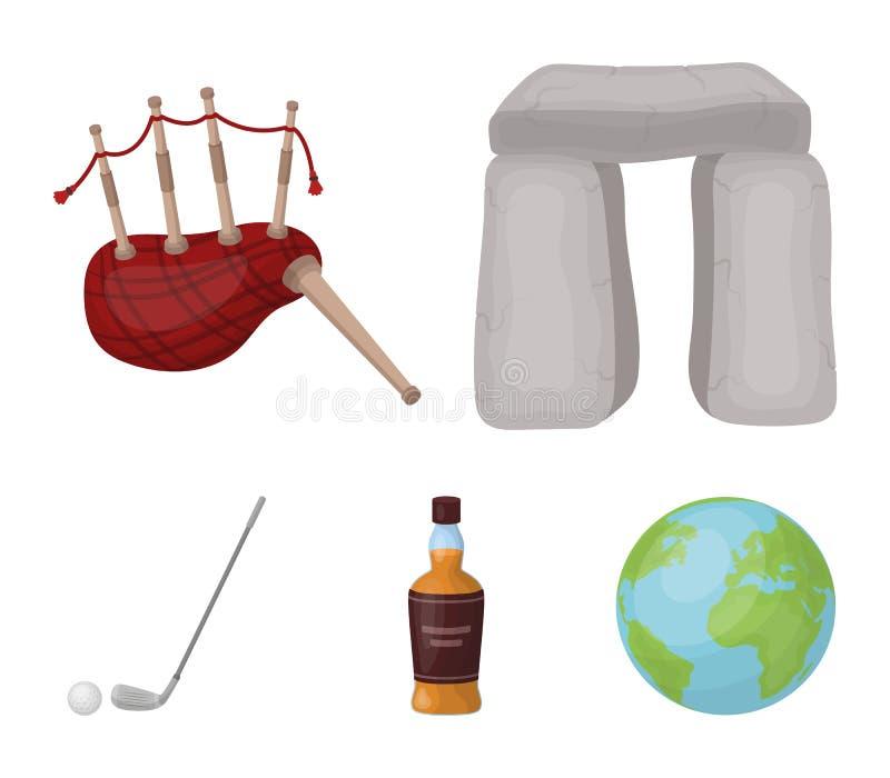 Monument en pierre, cornemuse, whiskey, golf Les icônes réglées de collection de pays de l'Ecosse dans le style de bande dessinée illustration stock