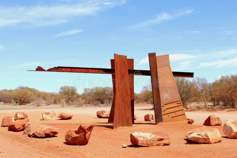 Monument at the entrance of the Red Centre Way, Australia royalty free stock photos