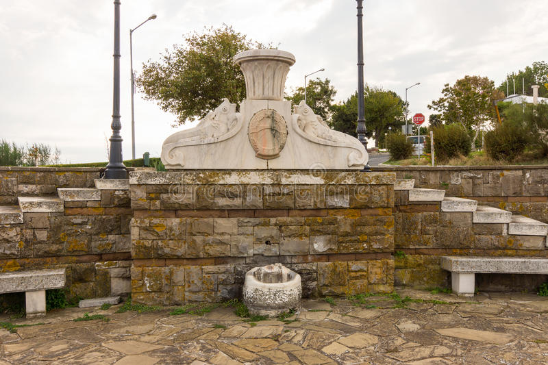 The monument at the entrance to the old Nessebar in Bulgaria royalty free stock image