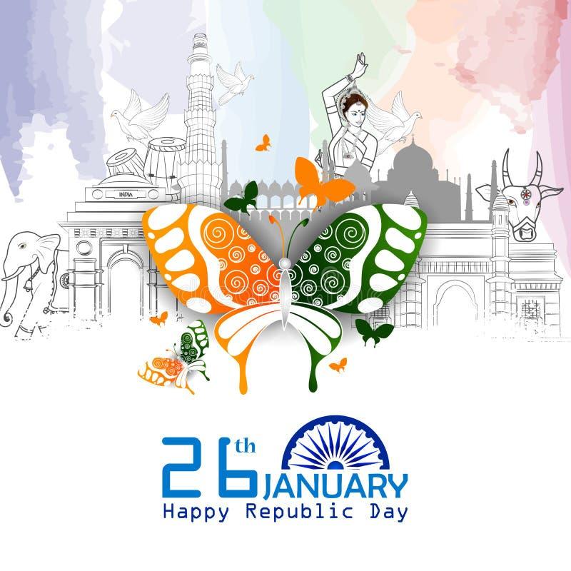 Monument et point de repère d'Inde sur le fond indien de célébration de jour de République illustration libre de droits