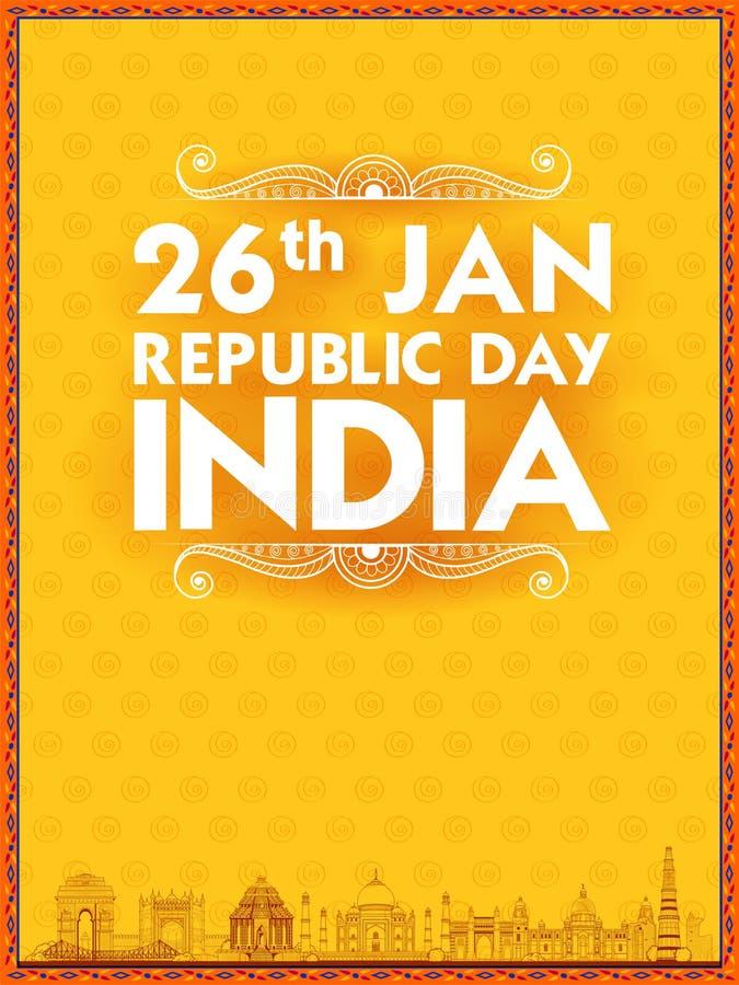 Monument et point de repère indiens célèbres comme Taj Mahal, India Gate, Qutub Minar et Charminar pour le jour heureux de Républ illustration libre de droits