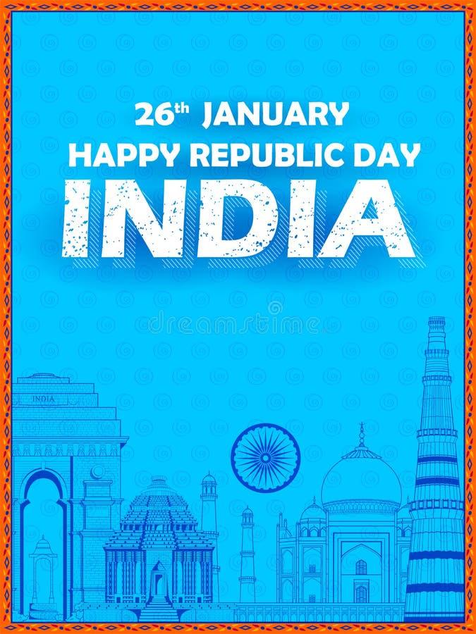 Monument et point de repère indiens célèbres comme Taj Mahal, India Gate, Qutub Minar et Charminar pour le jour heureux de Républ illustration stock